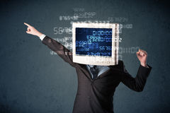 Human cyber monitor pc calculating computer data concept Stock Image