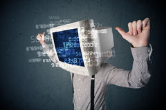 Human cyber monitor pc calculating computer data concept Stock Photos