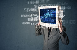 Human cyber monitor pc calculating computer data concept Royalty Free Stock Images