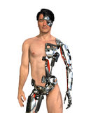 Human Cyborg. A man has had large areas of his body replaced with robotic parts - 3D render with digital painting Stock Photography