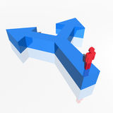 Human 3d figure choosing direction. Red humanoid 3d figure on a two way blue arrow Royalty Free Stock Image