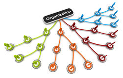 Human 3D model Connection Link Organization chart. Illustration Stock Illustration