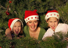 Human decoration on christmass tree stock image