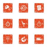 Human delivery icons set, grunge style. Human delivery icons set. Grunge set of 9 human delivery vector icons for web isolated on white background Royalty Free Stock Photos