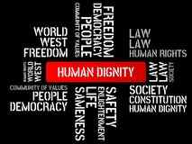 HUMAN DIGNITY - image with words associated with the topic COMMUNITY OF VALUES, word, image, illustration Royalty Free Stock Photo