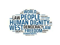HUMAN DIGNITY - image with words associated with the topic COMMUNITY OF VALUES, word, image, illustration Stock Images