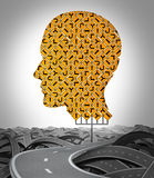 Human Direction. With a huge sign made with a group of traffic signage shaped as a human head with a winding road surrounded by tangled confused highways as a Royalty Free Stock Photography