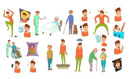 Human disease icon set, cartoon style. Human disease icon set. Cartoon set of human disease vector icons for your web design isolated on white background Royalty Free Stock Images