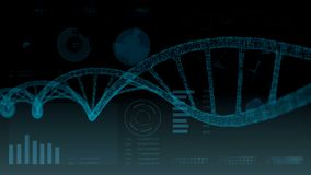 Human DNA. Abstract background with HUD. plexus. royalty free illustration