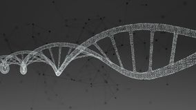 Human DNA. Abstract black background with plexus. stock illustration