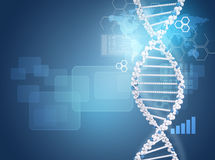 Human DNA. Background of hexagons, boards, graph Royalty Free Stock Photos