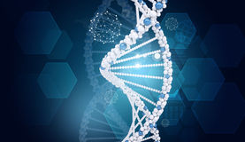 Human DNA. Background of hexagons world map, graph Stock Photography