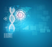 Human DNA. Background of red ring with hexagon and Royalty Free Stock Photography
