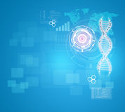 Human DNA. Background of red ring with hexagon Stock Images