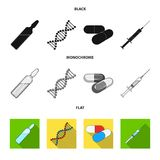 Human DNA and other equipment.Medicine set collection icons in black, flat, monochrome style vector symbol stock. Illustration Royalty Free Stock Images