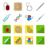 Human DNA and other equipment.Medicine set collection icons in cartoon,flat style vector symbol stock illustration web. Human DNA and other equipment.Medicine Royalty Free Stock Photography