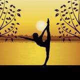 Human doing yoga. Silhouette of human doing yoga Royalty Free Stock Photos