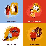 Human Dreams Design Concept. With personal wishes including meet friend, find love, buy car isolated vector illustration Stock Photo