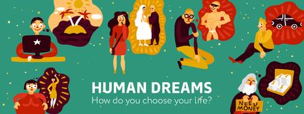 Human Dreams Illustration. Human dreams including travel, marriage, buying car, money, sports figure, green background, header vector illustration Stock Photos