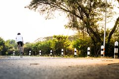 Human with drive bicycle on lanes road. royalty free stock photos