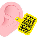 Human ear with bar code earmark Stock Images
