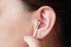 Human Ear. Close-up Asian woman's ear royalty free stock image