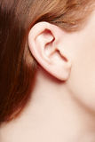 Human ear closeup. Ear of redhead lady stock photo