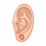 Human ear & earring. Human ear with framed earring front view,  illustration isolated on white background Stock Images