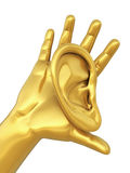 Human ear and hand gold Royalty Free Stock Photos