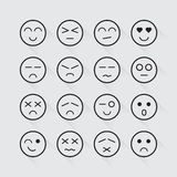 Human emotion icons long shadow set. Vector illustration Stock Photos