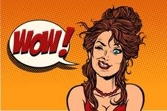 Human emotion wow woman. Comic cartoon pop art retro drawing illustration vector illustration