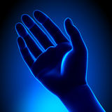 Human Empty Palm - Blue concept. Human Empty Palm - Hand and Fingers concept Royalty Free Stock Photography
