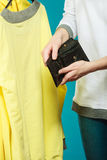 Human with empty wallet purse. Lack of money. Royalty Free Stock Photos