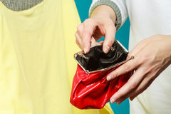 Human with empty wallet purse. Lack of money. Stock Images