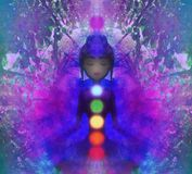 Human energy body, aura, chakras in meditation. Raster Illustration Royalty Free Stock Photography
