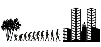 Human evolution 2. Human evolution from jungle to city stock illustration