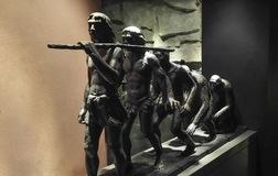 Human evolution copper sculpture. Closeup!Location: the three gorges museum in chongqing, China Stock Photography