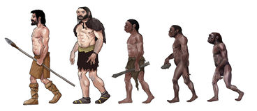 Human evolution illustration Stock Photo