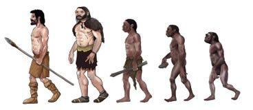 Human evolution illustration stock illustration