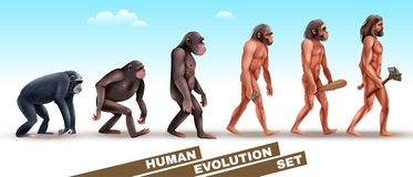 Human Evolution Characters Set. Human evolution set of characters from primates to homo sapiens on blue sky background vector illustration Stock Photography