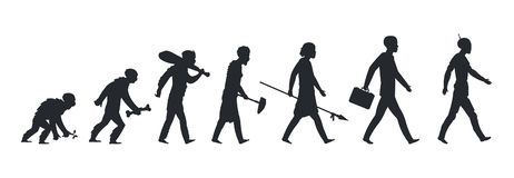 Human evolution silhouette. Monkey ape and caveman to businessman growing concept. Vector mankind development and