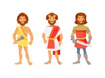 Human evolution vector. History of mankind. Cave, Roman and medieval men. Vector illustration Royalty Free Stock Photography