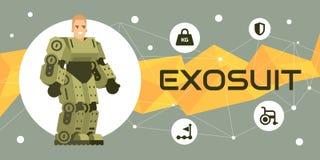 Exosuit illustration banner. Human exoskeleton technology illustration banner flat style Stock Photo