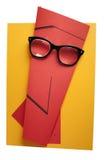 Human expression wearing retro eyeglasses. Royalty Free Stock Image