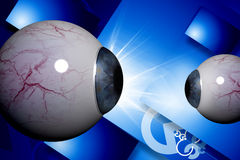 Human eye. 3d rendering human eye in color background Stock Image