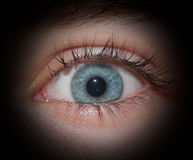 Human eye. Macro shot of an eye through a hole Royalty Free Stock Image