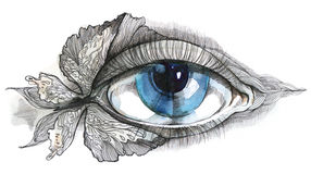 Human eye. Abstract human eye with butterfly (Cbm painting Royalty Free Stock Photography