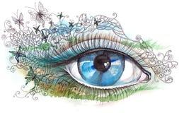 Human eye. Summer human eye (Cbm painting Royalty Free Stock Photo