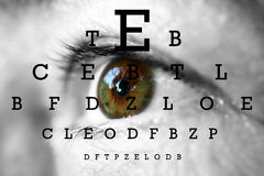 Human eye. With test vision chart royalty free stock photography