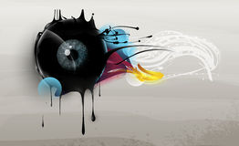 Human eye with abstract elements stock illustration